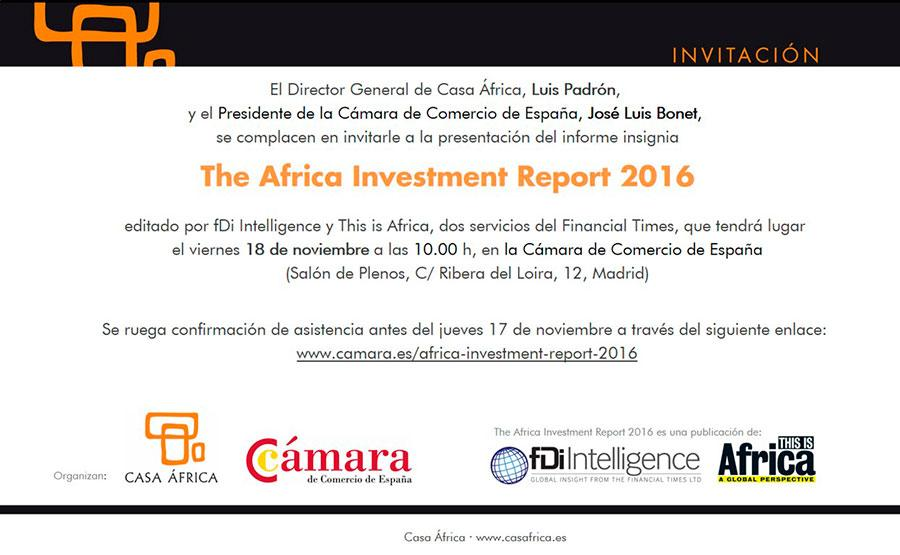 Invitación africa investment report