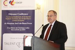 El Presidente de la Cámara de Comercio de España, José Luis Bonet, celebra en París su primer acto institucional en el extranjero.