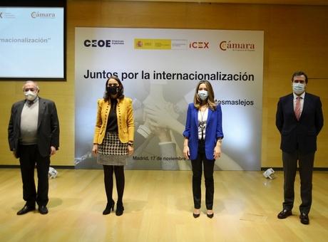 Ministerio de Industria, Cámara de España, ICEX y CEOE presentan la plataforma #JuntosMasLejos para apoyar la internacionalización de las empresas
